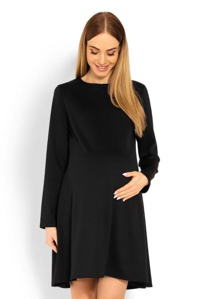 Be MaaMaa Elegantní volné těhotenské šaty dl. rukáv - černé, XXL, Velikost: XXL (44)