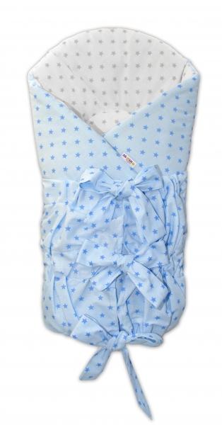 Baby Nellys Klasická retro šněrovací zavinovačka - Mini stars modré,šedé