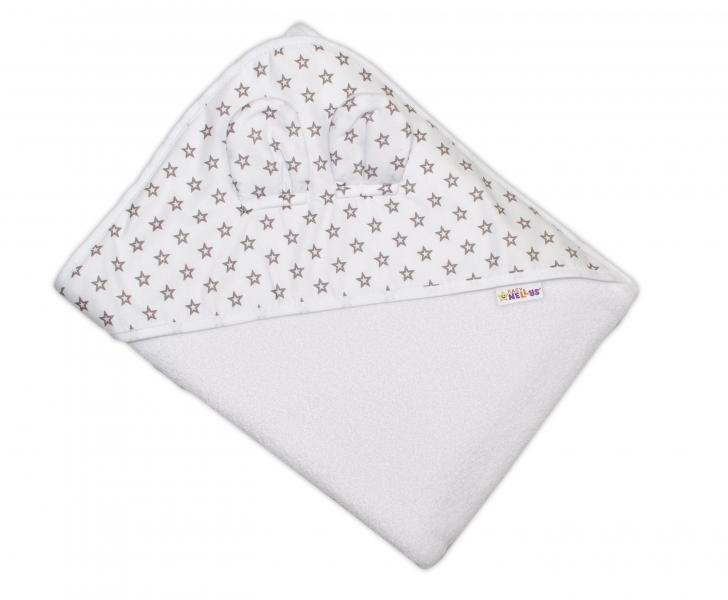 Dětská termoosuška s oušky Baby Mini Stars s kapucí, 100 x 100 cm - bílá, šedé hvězdičky