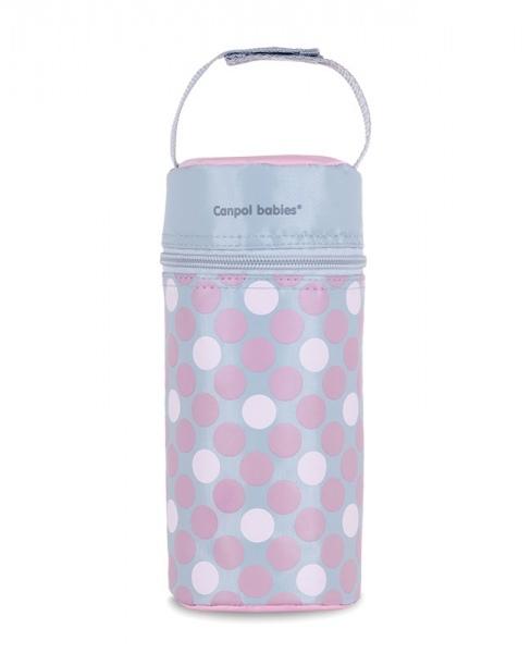 Termobox na kojeneckou láhev - puntíky růžové