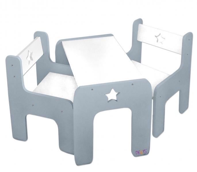 Sada nábytku Star - Stůl + 2 x  židle - šedá s bílou, D19