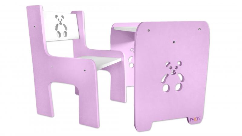 Sada nábytku Teddy - Stůl + židle - růžová s bílou