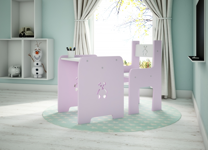 Sada nábytku Teddy - Stůl + židle - růžová s bílou, D19