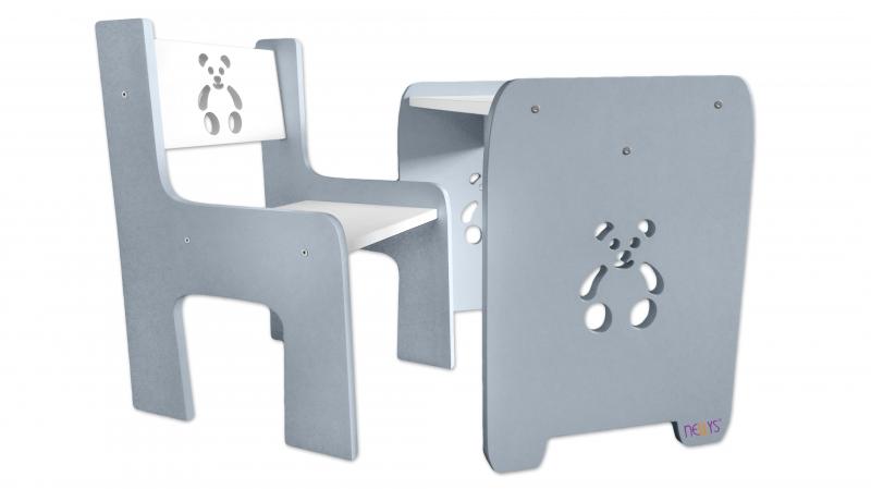 Sada nábytku Teddy - Stůl + židle - šedá s bílou