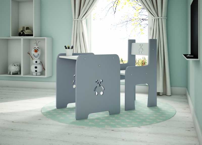 Sada nábytku Teddy - Stůl + židle - šedá s bílou, D19