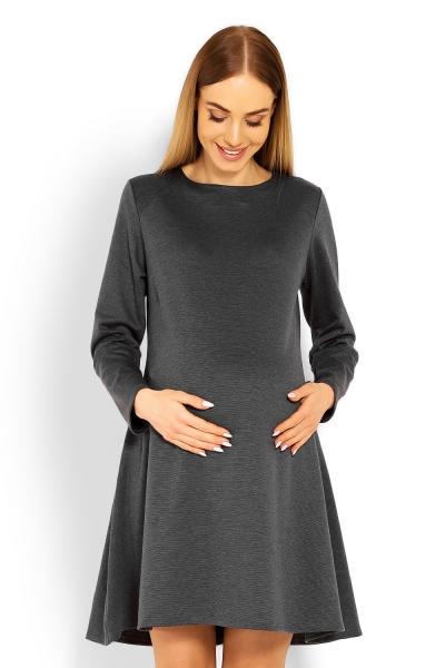 Elegantní volné těhotenské šaty dl. rukáv - grafit