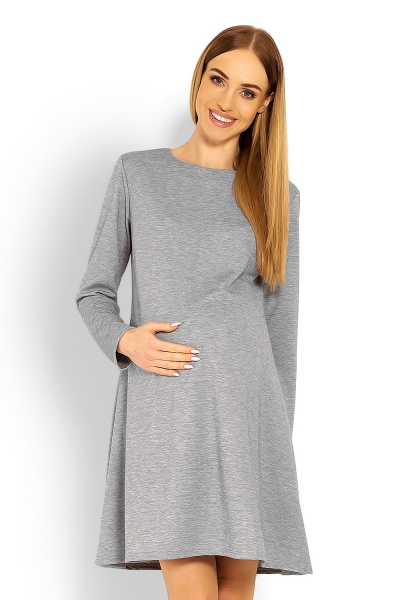 Elegantní volné těhotenské šaty dl. rukáv - světle šedá, XXL