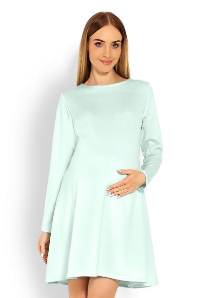 Elegantní volné těhotenské šaty dl. rukáv - mátová, XXL, Velikost: XXL (44)