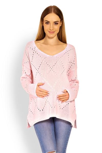 Be MaaMaa Volný ažurkový svetřík Romby - světle růžový