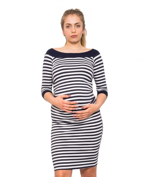 Be MaaMaa Těhotenská šaty Mila - proužkované,  3/4 rukáv, vel. M