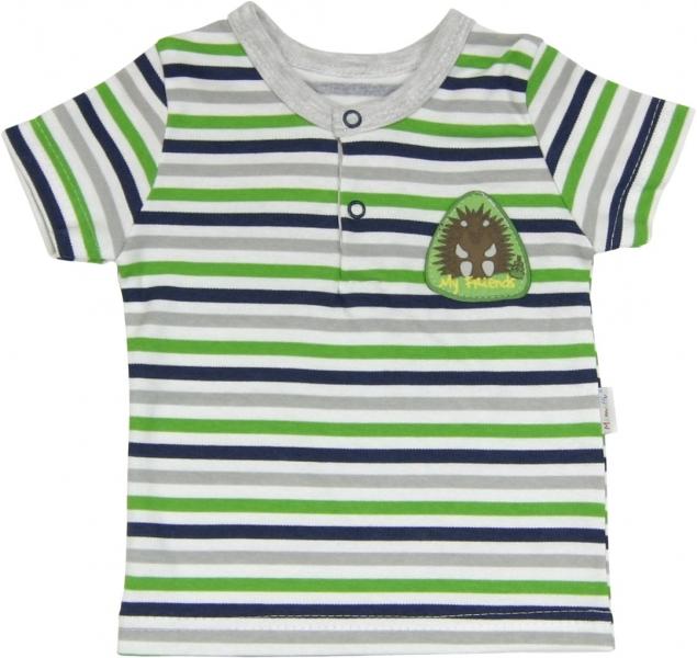Bavlněné Polo tričko Medvídek proužek - krátký rukáv, Velikost: 68 (4-6m)