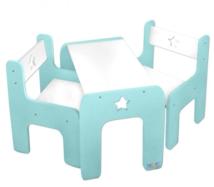 NELLYS Sada nábytku Star - Stůl + 2 x  židle - mátová s bílou, D19