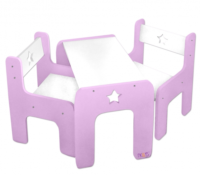NELLYS Sada nábytku Star - Stůl + 2 x  židle - růžová s bílou, D19