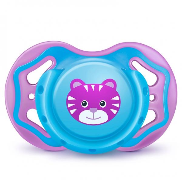 Ortodontický silikonový dudlík 6m+ s krytem Tygřík - modrá/fialová