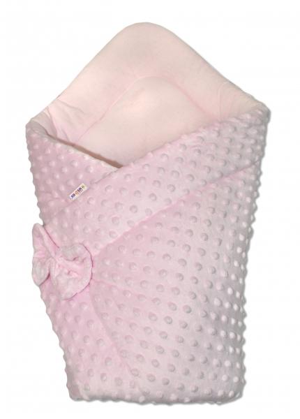 Baby Nellys Luxusní zavinovačka s mašlí 75x75cm, Minky baby Duo - růžová