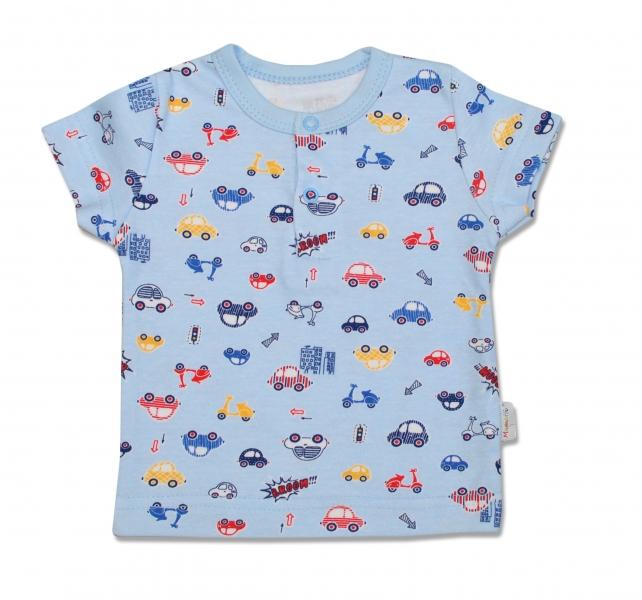 Bavlněné Polo tričko Veselé autíčko - krátký rukáv, 86