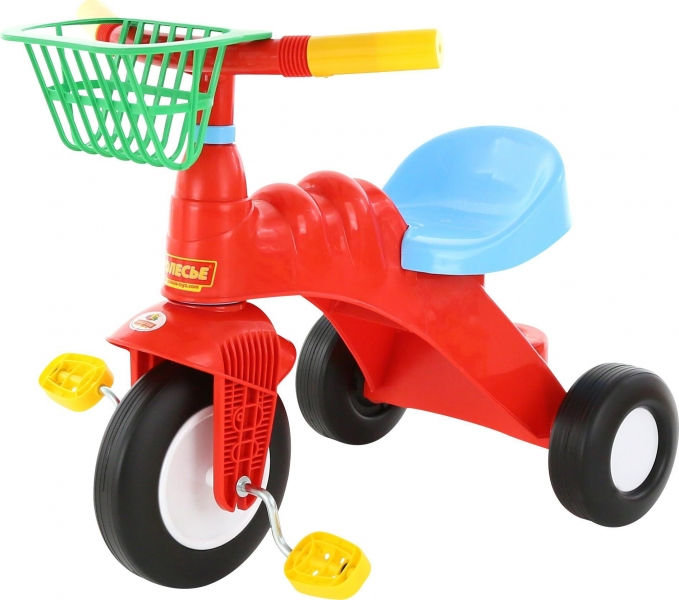 Plastová tříkolka s košíkem - červená
