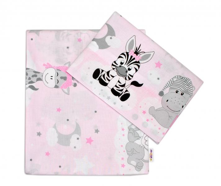Baby Nellys 2-dílné bavlněné povlečení Safari Baby - růžové