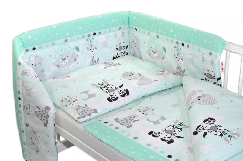 Baby Nellys 2-dílné bavlněné povlečení Safari Baby - mátové