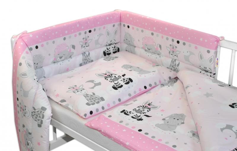 3-dílná sada mantinel s povlečením Safari Baby - růžová