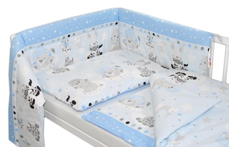 Baby Nellys 3-dílná sada mantinel s povlečením Safari Baby - sv. modrá
