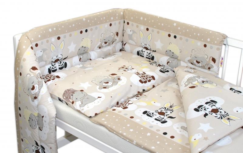 Baby Nellys 3-dílná sada mantinel s povlečením Safari Baby - béžová