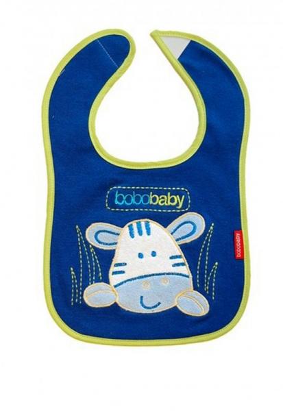 BOBO BABY Třívrstvý bavlněný bryndáček Zebra - modrý