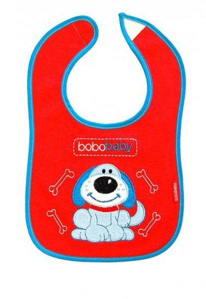 BOBO BABY Třívrstvý bavlněný bryndáček Pejsek - červený