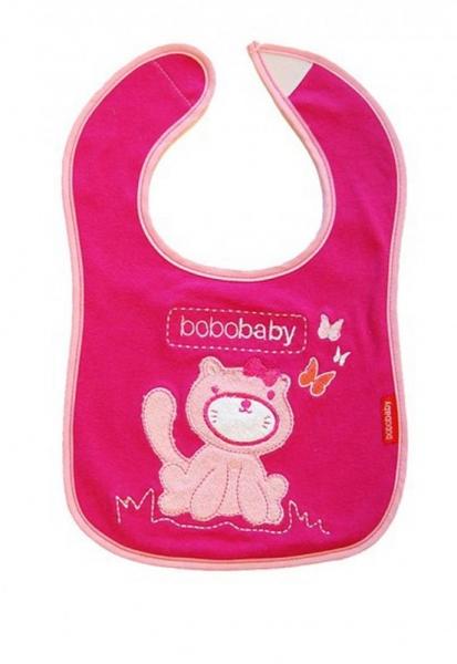 BOBO BABY Třívrstvý bavlněný bryndáček Kočička - růžová