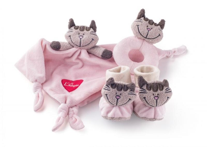 Plyšová sada v krabičce - muchláček, chrastítko a botičky 3v1 - Kočička Andžela