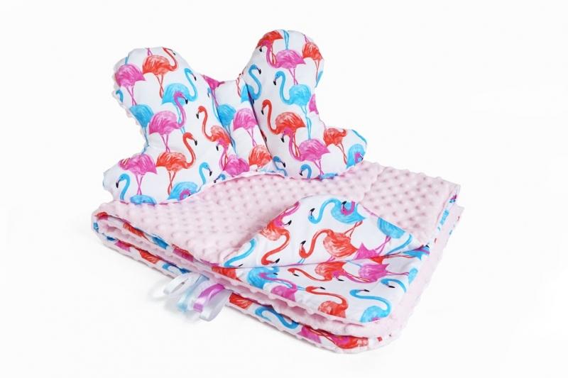 Baby Nellys 2-dílná sada do kočárku s minky s motýlkem - plameňák, minky růžová