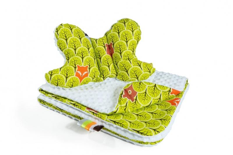 Baby Nellys 2-dílná Sada do kočárku s minky s motýlkem - Lesík zelený, minky - bílá