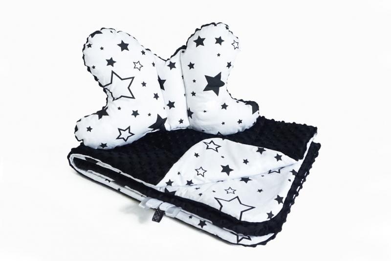 Baby Nellys 2-dílná Sada do kočárku s minky s motýlkem - hvězdičky, minky - černá/bílá