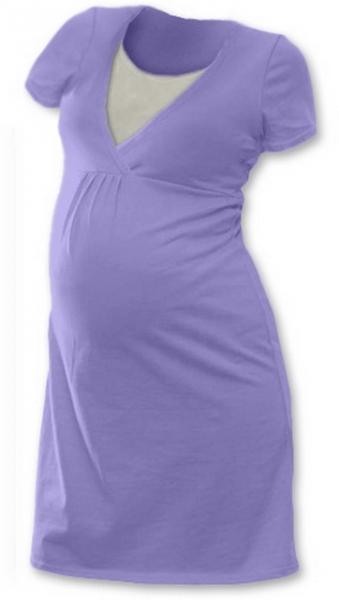 Těhotenská, kojící noční košile Johanka krátký rukáv - šeříková