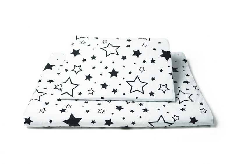 Baby Nellys Polštářkový mantinel s povlečením - hvězdičky, černá/růžová/bílá, 135x100 cm