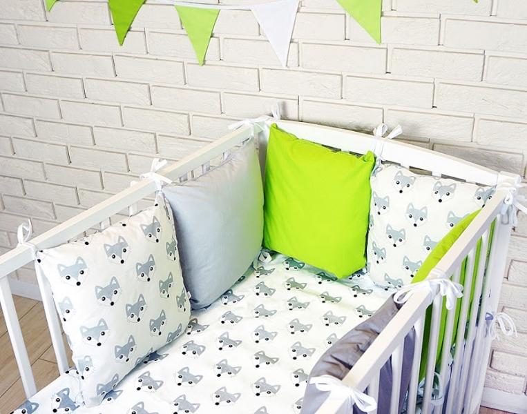 Baby Nellys Polštářkový mantinel s povlečením - lištičky, šedá/bílá/zelená,135x100 cm