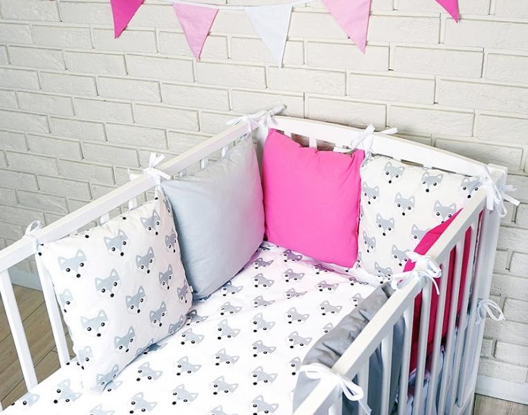 Baby Nellys Polštářkový mantinel s povlečením - lištičky, šedá/bílá/růžová, 135x100 cm