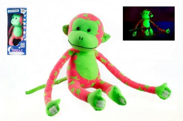 Opice svítící ve tmě plyš 45x14cm růžová/zelená v krabici