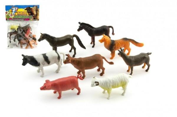 Zvířátka domácí farma plast 8ks v sáčku 18x24x3cm