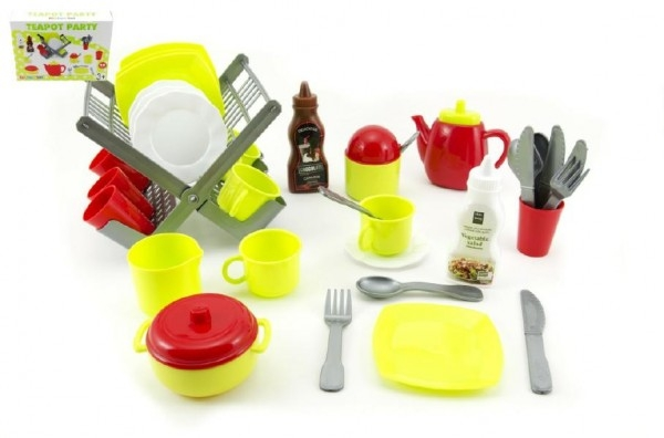 Odkapávač s nádobím + doplňky plast 40ks v krabici 28x38x9cm