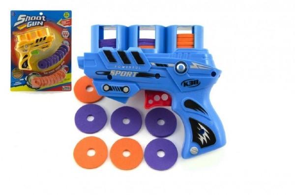Vystřelovač disků plast 13cm asst 3 barvy na kartě 21x28 cm