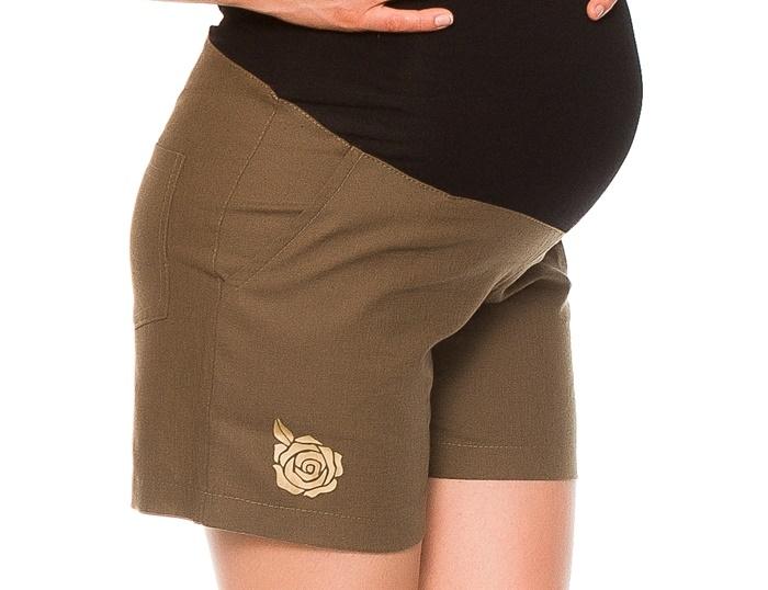 Be MaaMaa Těhotenské lněné kraťasy s růžičkou, khaki, vel. S