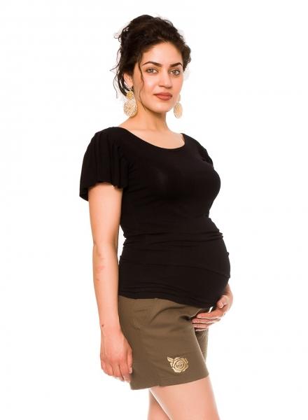 Be MaaMaa Těhotenské lněné kraťasy s růžičkou, khaki, vel. L