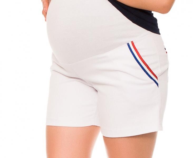 Be MaaMaa Těhotenské kraťasy Jeans Tommy - bílé s proužkem, vel. L