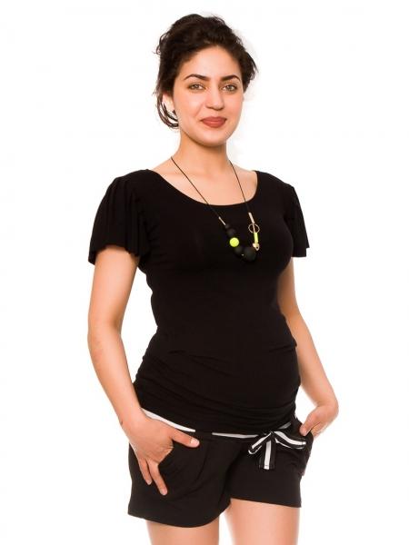 Těhotenské teplákové kraťasy Monika - černé, Velikost: XS
