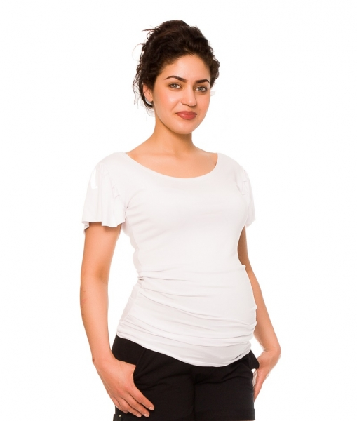 Be MaaMaa Těhotenské triko/halenka Lea - bílá, Velikost: XS (32-34)