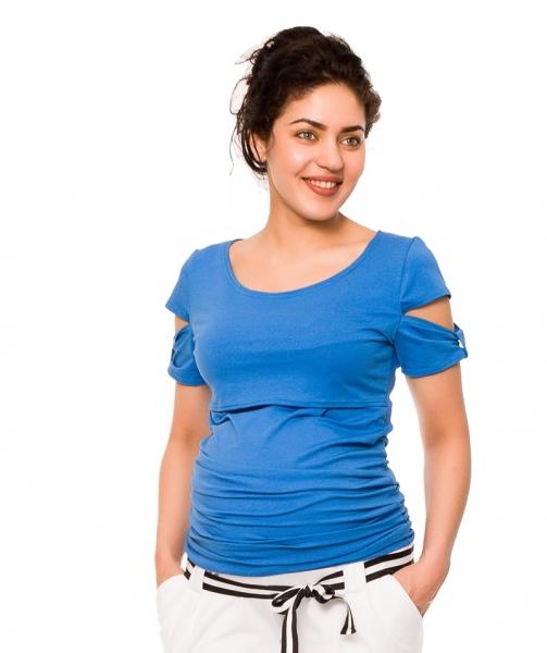 Be MaaMaa Těhotenské a kojící triko Lena - modré