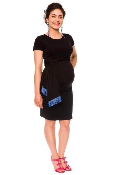 Be MaaMaa Těhotenské a kojící šaty Agnes - černé se stuhou, vel. L