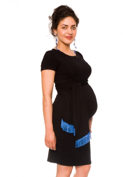 Be MaaMaa Těhotenské a kojící šaty Agnes - černé se stuhou, vel. XL