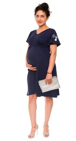 Be MaaMaa Elegantní těhotenské šaty Alexie, se stuhou a potiskem - granát, vel. L